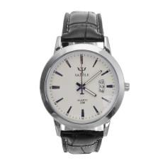 Yazole Mens Kulit Band Tanggal Analog Quartz Sports Wrist Watch Putih Hitam Promo Beli 1 Gratis 1