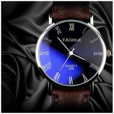 Katalog Sederhana Quartz Watch Fashion Leisure Disc Buffalo Pola Belt Watch Magic Blue Hitam Wajah Cokelat Belt Besar Yazole Yazole Terbaru