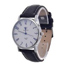 Jual Cepat Yazole Unisex Tanggal Kulit Stainless Steel Kuarsa Olahraga Militer Wrist Watch Putih Hitam