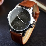 Beli Yazole Unisex Sport Stainless Steel Quartz Leather Wrist Watch Black Brown Lengkap