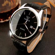YAZOLE Vintage kulit Fashion pria Band Stainless Steel olahraga bisnis jam tangan kuarsa yzl308h - hitam - ต่าง ประเทศ