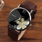 Review Yazole Women Flower Quartz Wrist Watch Emas Brown Yazole