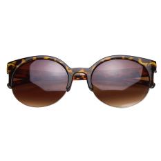 YBC Mata Kucing Semi Tanpa Bingkai Kacamata Hitam With Lingkaran Kaca Lensa Kacamata untuk Wanita, China #4
