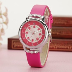 YBC Girls Rhinestone Bunga Watch PU Leather Strap QUARTZ Mahasiswa Jam Tangan
