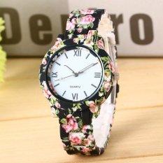 YBC Women Fashion Charm Geneva Floral Printed Analog QUARTZ Jam Tangan Seiko Men Watches-Intl