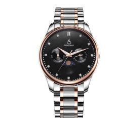 Yeopor Bulan Baru Baja Bisnis Wei Lois Multifungsi Bercahaya Waterproof Mens Watch Fashion QUARTZ Watch (Hitam)