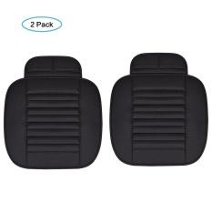 Yesefus 2 PC Interior Mobil Seat Cover Cushion PU Kulit Breathable Pad Arang Bambu Mat untuk Auto Depan Kursi Kantor Kursi (Hitam) -Intl