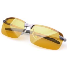 Yidabo Terpolarisasi Mengemudi Pria Berkacamata Kuning Lensa Night Vision Kacamata Mengemudi Mengurangi Silau (Kelabu Bingkai)