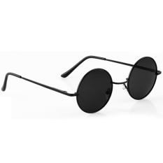Yika Unisex Retro Vintage Round Frame Lensa Sunglasses Kacamata Hitam Di Tiongkok