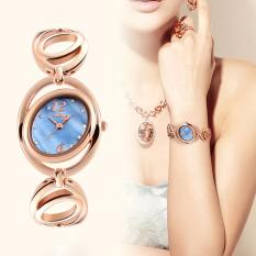 Harga Yohemei Wanita Fashion Kreatif Oval Dial Watches Tahan Air Elegan Emas Paduan Strap Japan Quartz Watch Wanita Kasual Gelang Watch Intl Murah