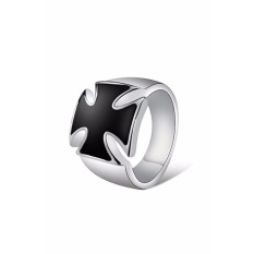 Yoursfs Pria Vintage Gothic Cincin Stainless Steel Cross Knights Of The Temple Army Punk Biker Ring