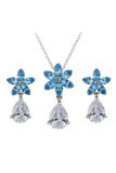 Review Yoursfs White Gold Plated Elegant And Fashion Earrings And Necklace With Blue Flower Shape And White Zirconia Pendant
