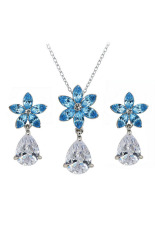 Harga Yoursfs White Gold Plated Elegant And Fashion Earrings And Necklace With Blue Flower Shape And White Zirconia Pendant Asli Yoursfs