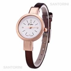 YUHAO Jam Tangan Kulit Fashion Analog Wanita Diamon Style Women Leather Strap Watch - BROWN