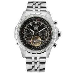 Yukufus Deluxe Jaragar Relogio Jam Tangan Maskulin Pria Hitam Panggil Mesin Otomatis Penggerak Angin Watch Jam Tangan Kotak Hadiah Kapal Gratis (Hitam)