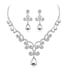Yunmiao Modis Wanita Perhiasan Set SHARP Berlian Buatan Liontin Kalung + Anting untuk Pernikahan Hari Valentine Hadiah-Internasional
