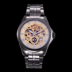Yydsop OUYAWEI Golden Men Skeleton Mechanical Watch Stainless Steel Tangan Angin Jam Tangan Transparan Steampunk Montre Homme Jam Tangan (Emas)