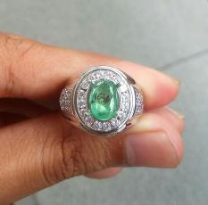 Zamrud natural emerald beryl asli plus ring