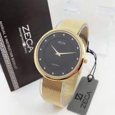 Spesifikasi Zeca Zc1001 Jam Tangan Wanita Stainless Steel Black Gold