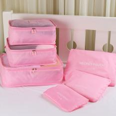Toko Zeebee 6 In 1 Travel Organizer Bag Travel Pouch Tas Penyimpanan Peach Pink Dekat Sini