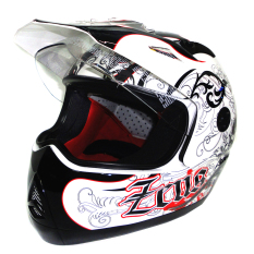Beli Zeus Helm Full Face Supermoto 2100B Grafik Putih E13 Putih Online Jawa Barat