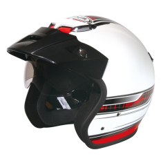 Zeus Helm Half Face Double Visor ZS-381 Grafik - Putih K39 Merah - Aksesoris Motor - Variasi Motor