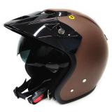 Beli Zeus Helm Half Face Double Visor Zs 381 Polos Cokelat Dope Zeus