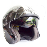 Review Zeus Helm Half Face Double Visor Zs 610K Grafik Hitam 006 Putih