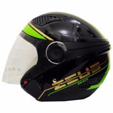 Promo Zeus Helm Half Face Double Visor Zs 610K Grafik Hitam 017 Hijau