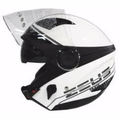 Harga Zeus Helm Half Face Double Visor Zs 610K Grafik Putih 017 Hitam Zeus Baru
