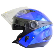 Zeus Helm Half Face Double Visor ZS-610K Polos - Biru Yamaha - Aksesoris Motor - Variasi Motor