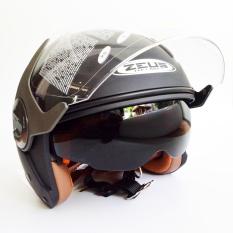 Toko Zeus Helm Half Face Double Visor Zs 612A Polos Hitam Dope Terlengkap Di Indonesia