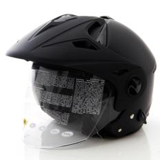 Harga Zeus Helm Half Face Double Visor Zs 612C Polos Hitam Dove Terbaik