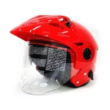 Spesifikasi Zeus Helm Half Face Double Visor Zs 612C Red Zeus Terbaru
