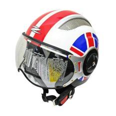 Zeus Helm Half Face ZS-218 Retro Iron Head Grafik - Putih/Merah - Aksesoris Motor - Variasi Motor