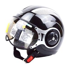 Jual Zeus Helm Half Face Zs 218 Retro Iron Head Hitam Mutiara Online Di Indonesia
