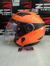 Beli Zeus Z610 Orange Half Face Double Visor