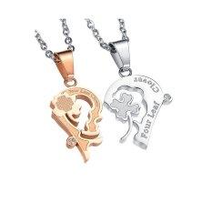 Zhouda Sf78753666690ai Titanium Steel Clover Heart Kalung Pasangan Gold dan Putih-Intl