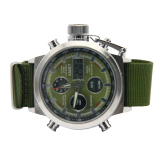 Jual Zigzagzong New Quartz Digital Analog Tanggal Jam Tangan Militer Watch Outdoor Stainless Steel Green Intl Branded