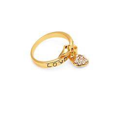 Zircon Cinta Jantung Drop Liontin Surat MENCINTAIMU Ikatan Simpul Cincin 18 K Emas .