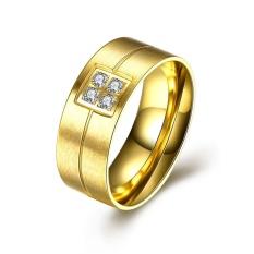 Zircon Cincin Pernikahan Stainless Steel Pria Klasik Perhiasan Emas Silver Plated Cincin untuk Men-US UKURAN 7-Intl