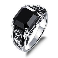 ZUNCLE Eropa Gaya Punk Titanium Baja Pria/Wanita/Unisex Ruby Cincin Perhiasan Grosir (Hitam) -US Ukuran: 8