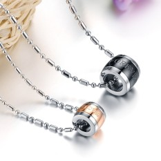 ZUNCLE Korea Diamond Titanium Steel Couple Kalung (Emas)