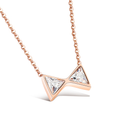 Ulasan Lengkap Zuncle Korean 18K Rose Gold Diamond Bow Clavicle Chain Butterfly Pendant Necklace Rose Gold