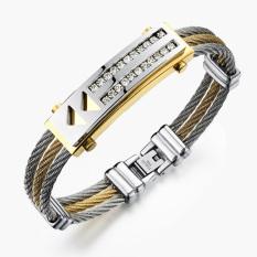Jual Zuncle Klasik Korea Kepribadian Titanium Pria Kasual Unisex Perhiasan Gelang Baja Grosir Emas Perak Zuncle Murah