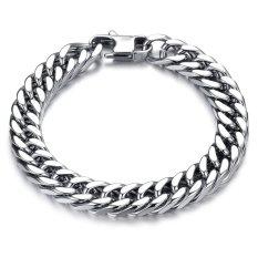 Harga Zuncle Men S Creative Personality Tide Thick Titanium Steel Bracelet Wristband Wholesale Silver Termurah
