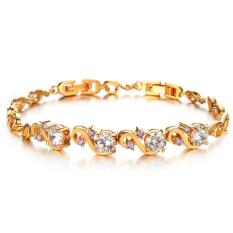 Diskon Besarzuncle Micro Pave Cz Hoop Rome 3 Rows High Grade Diamond 18K Gold Plated Bracelet Golden