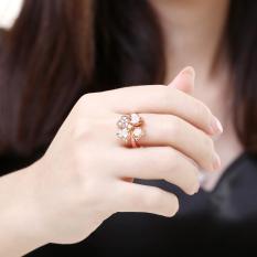 ZUNCLE Nickle Antiallergic Fashion Perhiasan Putih Berlapis Zircon Cincin (Emas)