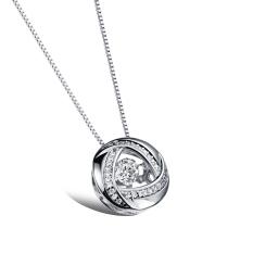 ZUNCLE Cincin Perspektif Diamond Temperamen Wanita Pendant Necklace (Silver)