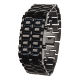 Diskon Zuncle Stylish 8 Led Blue Light Digit Stainless Steel Gelang Wrist Watch 1 X Cr2016 Hitam Zuncle